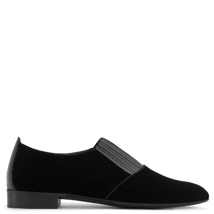 Giuseppe Zanotti ROMEO Velvet Loafers with Patent Leather Inserts