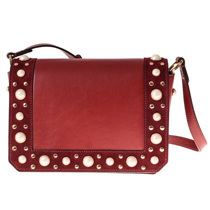 Sandro PEARLY Burgundy Calfskin Bag with Pearl Studs