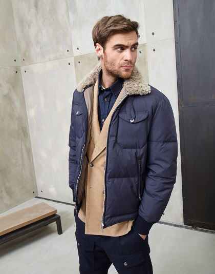 Brunello Cucinelli Water-repellent bonded opaque nylon leisure-fit down jacket with shearling collar