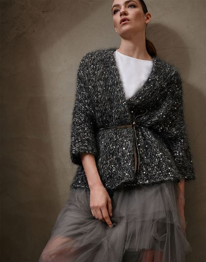 Brunello Cucinelli Mohair and wool Maxi Diamond yarn Reverse cardigan with Metallic Leather belt