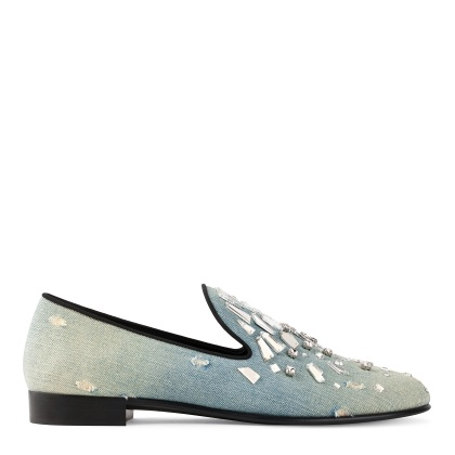 Giuseppe Zanotti Denim Loafers with Crystals
