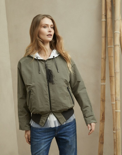 Brunello Cucinelli Reversible Taffeta Outerwear with Shiny Feather Detail