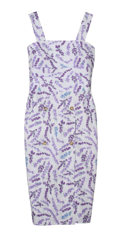 Max Mara Lavender print purecotton dress with trench-inspired details
