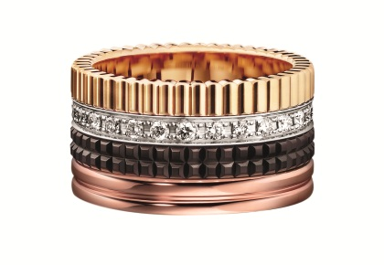 Boucheron Quatre Classique edition large ring in yellow gold, white gold, rose gold and diamonds