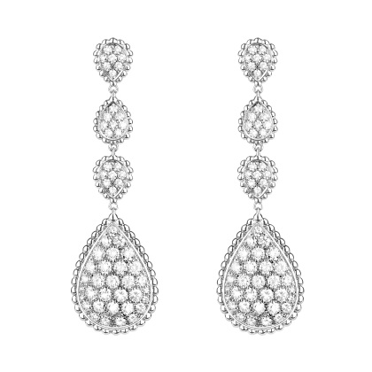Boucheron Serpent Bohème large pendant earrings in white gold and diamonds