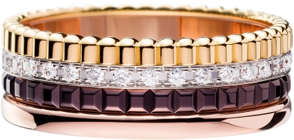 Boucheron Quatre Classique Edition ring in yellow gold, pink gold and white gold with brown PVD & diamonds