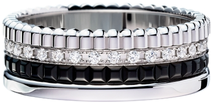 Boucheron Quatre Black Edition ring in white gold, set with black PVD and diamonds