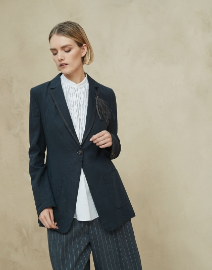 Brunello Cucinelli Shiny Feather Deconstructed Jacket with Grosgrain Trim