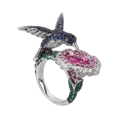 Boucheron Hopi the hummingbird ring in pink oval sapphire and white gold