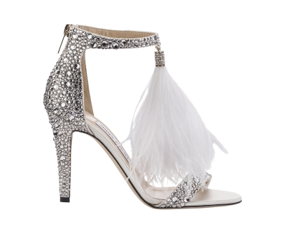 Jimmy Choo Viola 100 White Suede and Hot Fix Crystal Embellished Sandals with an Ostrich Feather Tassel