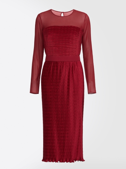Max Mara Georgette mixed Plissé dress in red color