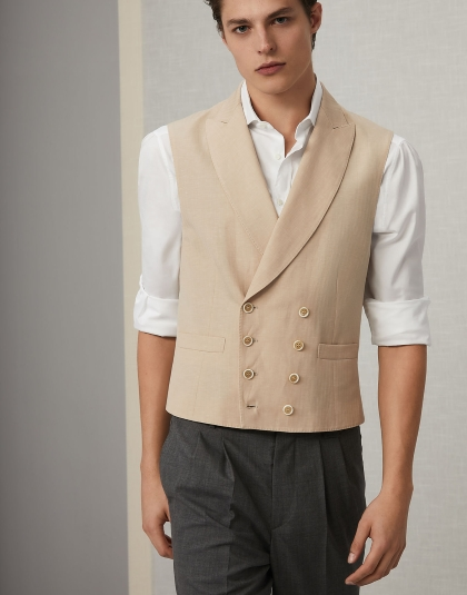 Brunello Cucinelli Wool and Linen Chevron one-and-a-half-breasted Waistcoat