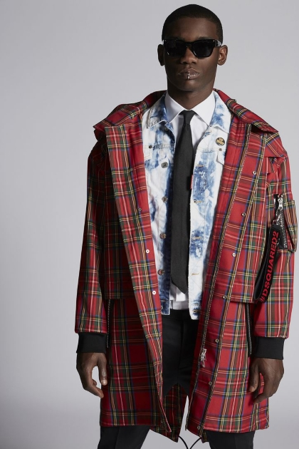 DSquared2 Long Red Plaid Trench Coat