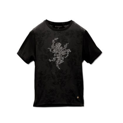 Fabio Caviglia Silk t-shirt with Swarovski floral design