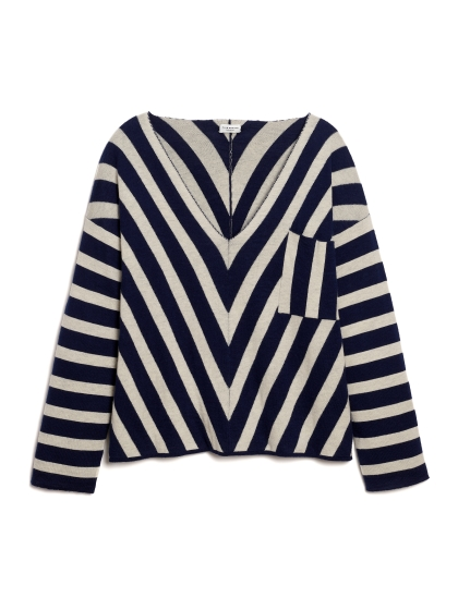 Club Monaco STRIPED JACQUARD V-NECK SWEATER