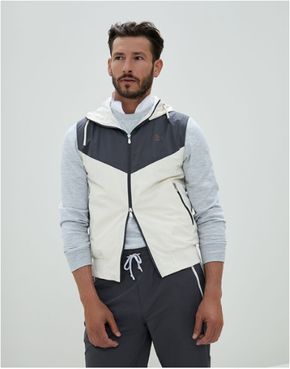 Brunello Cucinelli Water-resistant matte nylon color-block sweatshirt vest