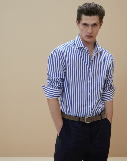 Brunello Cucinelli Striped twill slim fit shirt with spread collar