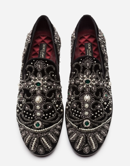 Dolce & Gabbana MILANO DRESS SLIPPER WITH EMBROIDERIES