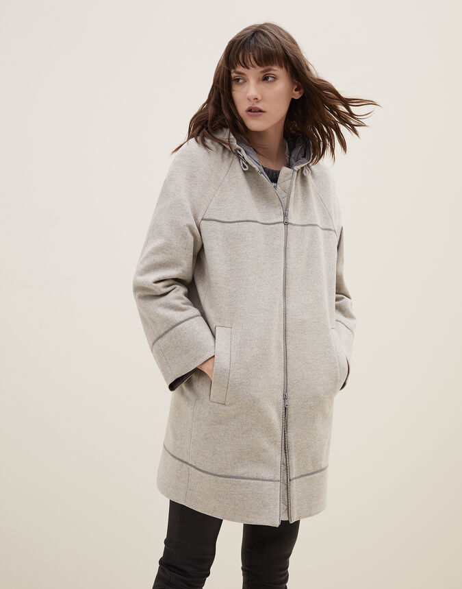 Brunello Cucinelli Wool and cashmere double cloth parka with monili