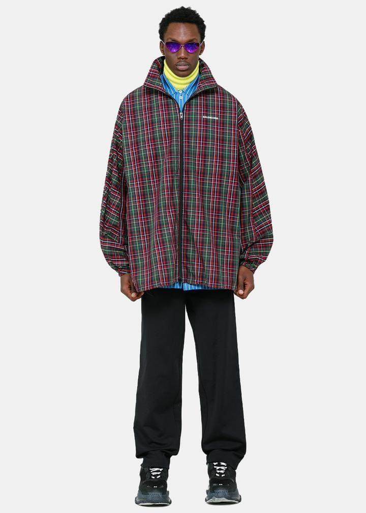 Rainbow Presents: Balenciaga Red & Green Check Logo Jacket