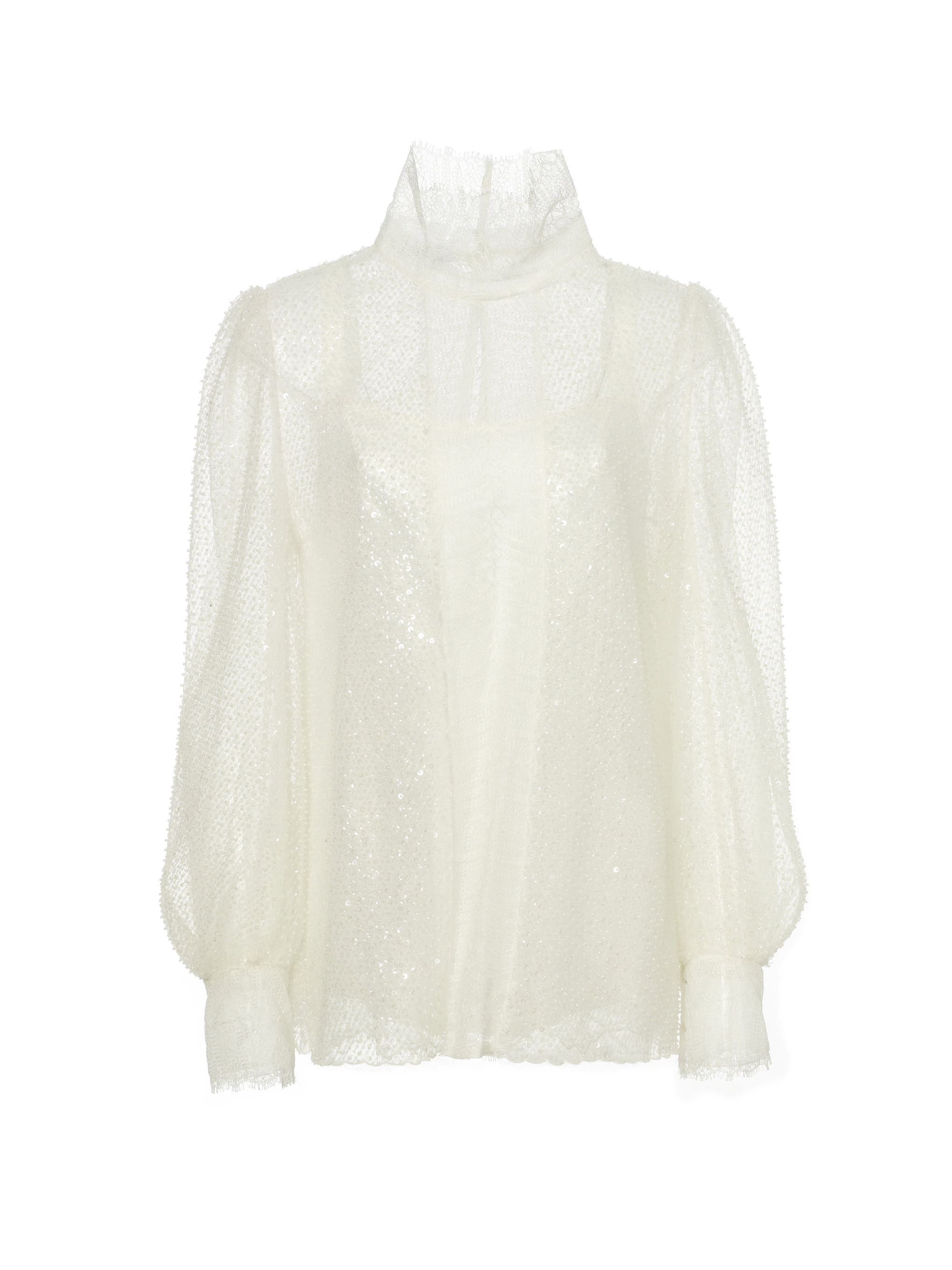 Shiatzy Chen See-through Sequined Lace Top