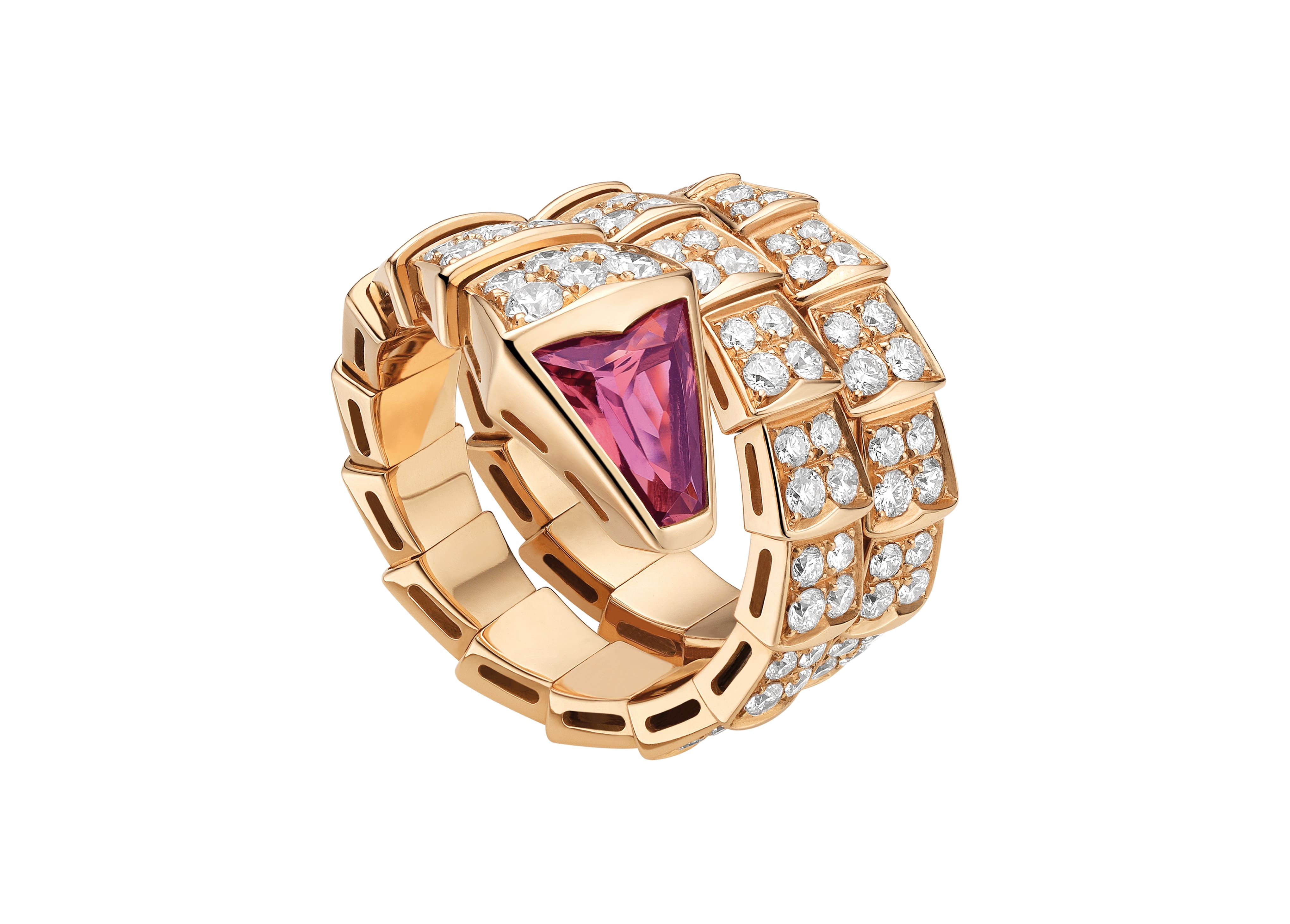 BVLGARI Serpenti Two-Coil Ring in 18 KT Rose Gold