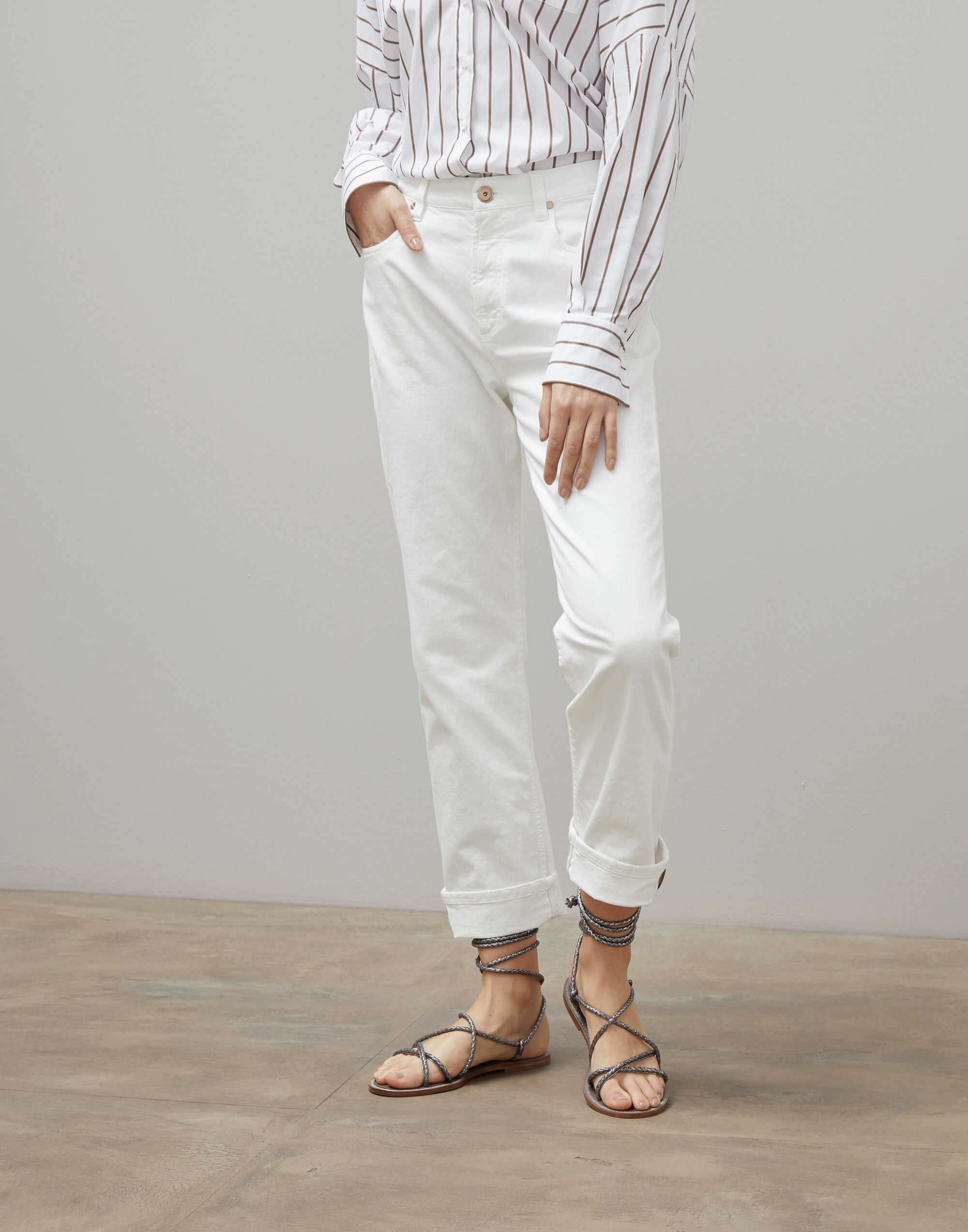 Brunello Cucinelli Garment-dyed straight fit trousers
