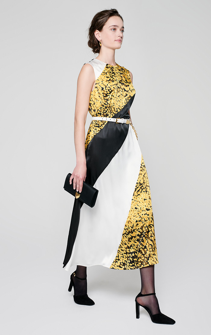 ESCADA PRINTED SILK PANELED DRESS