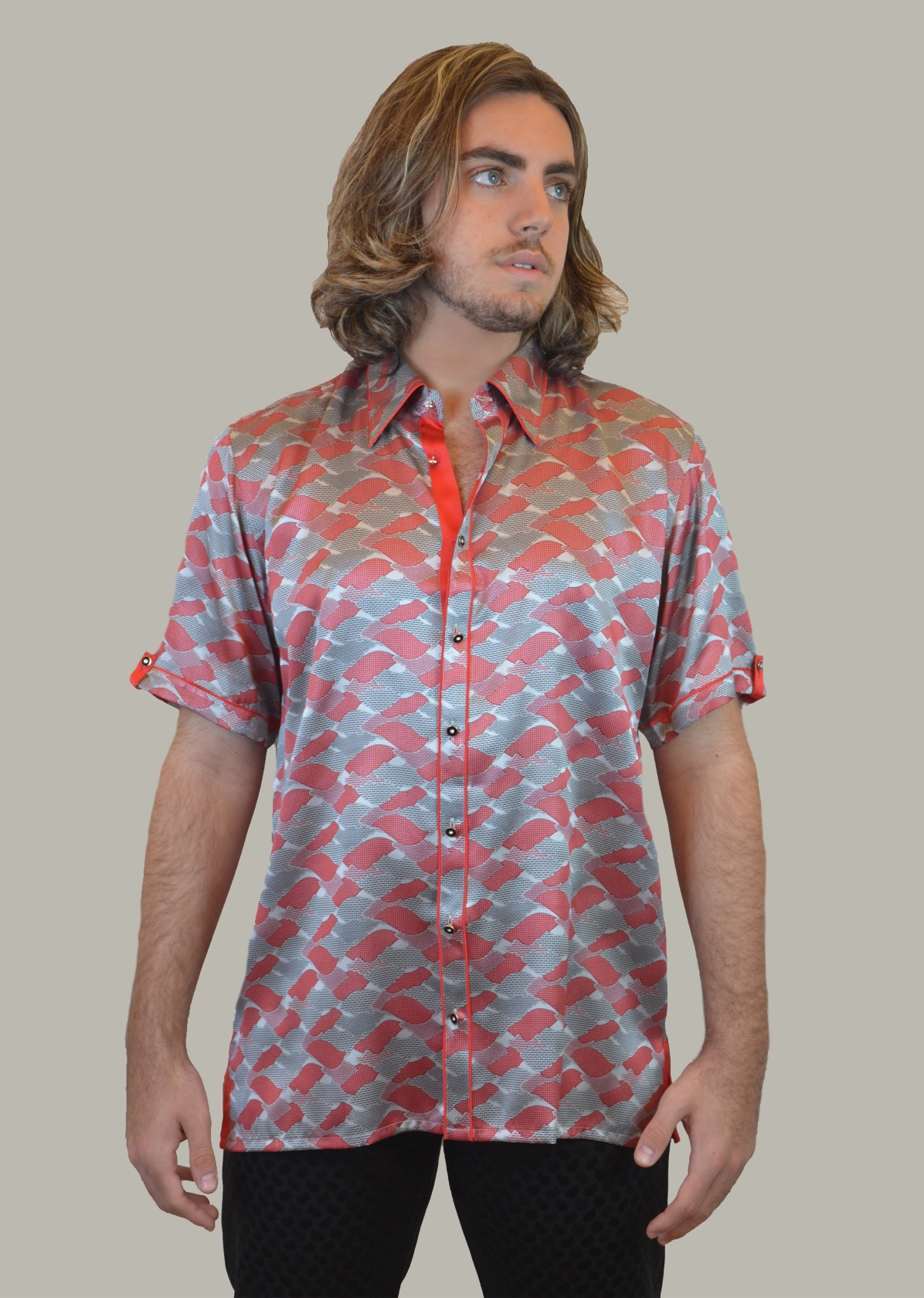 Fabio Caviglia Pattern short sleeve shirt in 100% silk