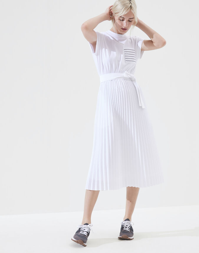Brunello Cucinelli Dress in jersey and pleated poplin with shiny pocket