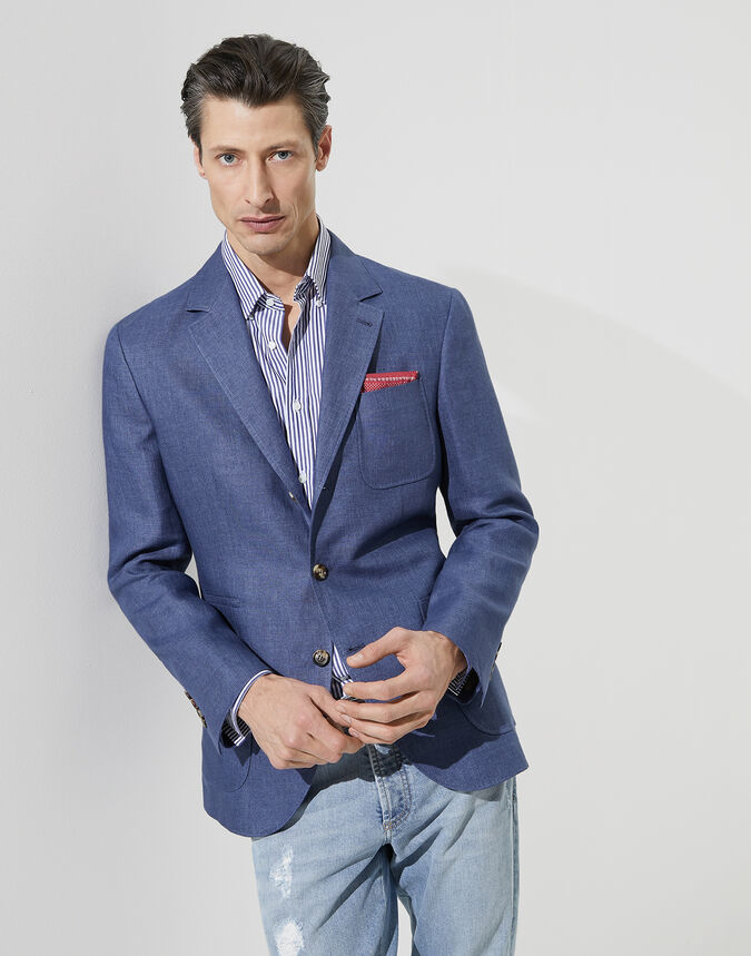 Brunello Cucinelli Délavé linen deconstructed blazer with patch pockets