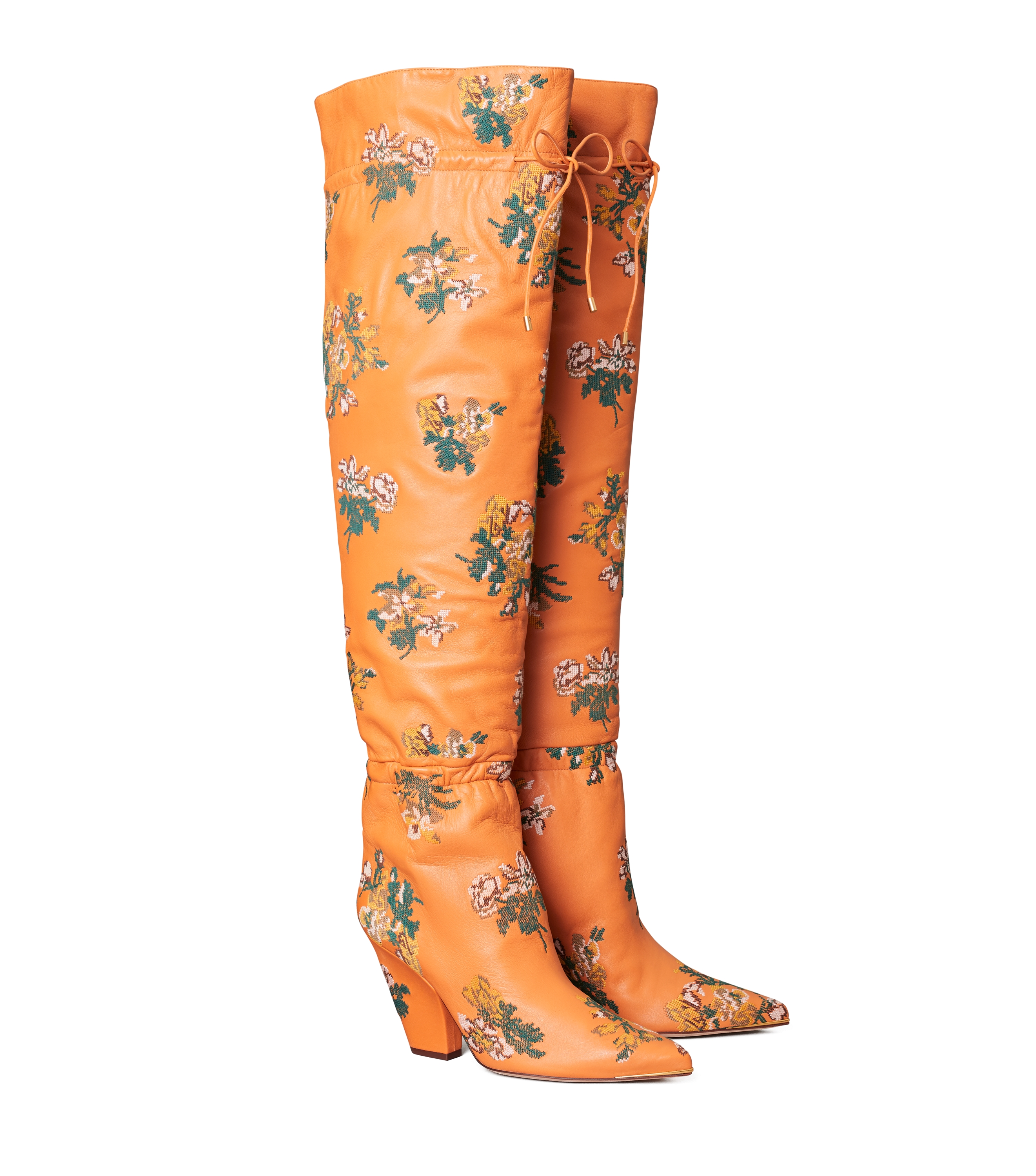 Tory Burch LILA EMBROIDERED OVER-THE-KNEE SCRUNCH BOOT LILA