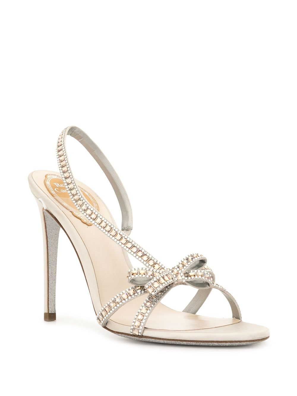 Rainbow René Caovilla crystal embellished strappy bow sandals