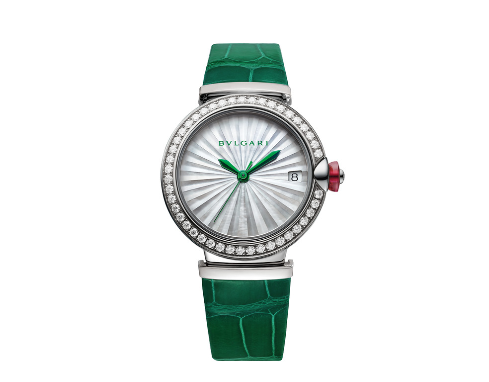 BVLGARI LVCEA watch 33mm with stainless steel case set with diamonds