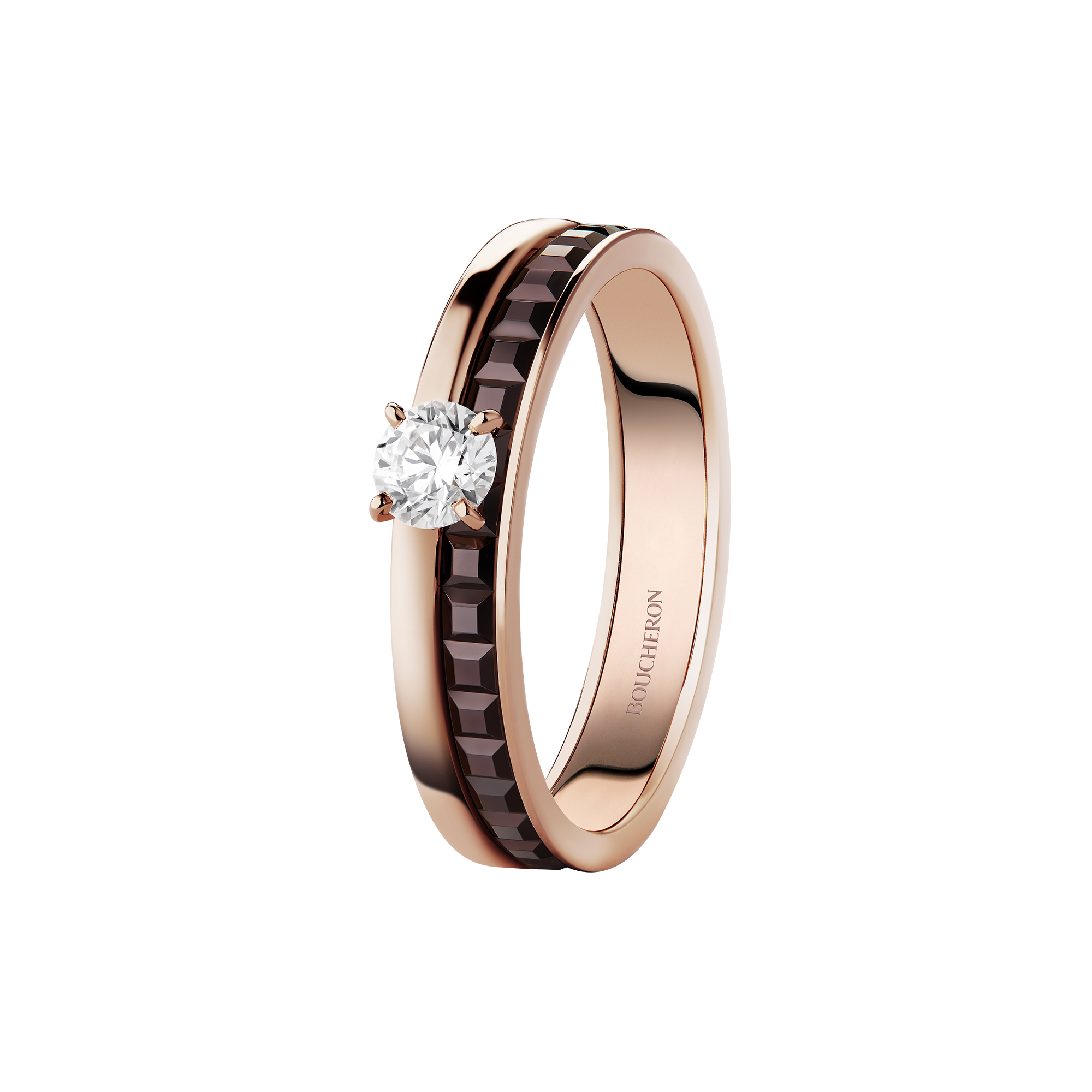 Boucheron Quatre Classique Edition solitaire in pink and yellow gold