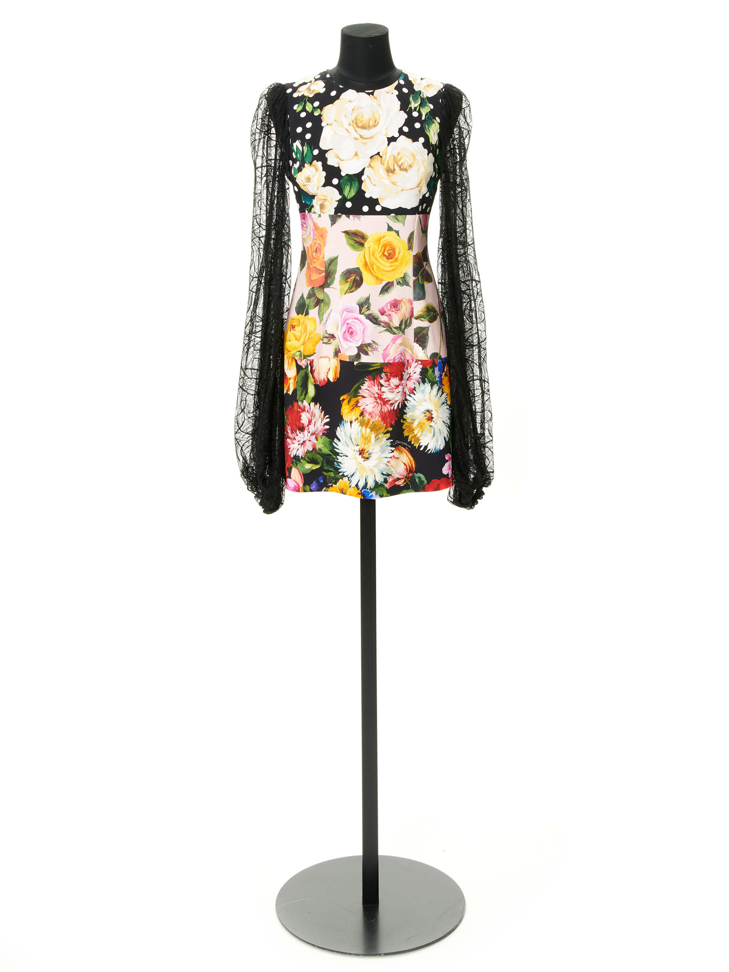 DOLCE & GABBANA PATCHED DRESS WITH LACE SLEEVES