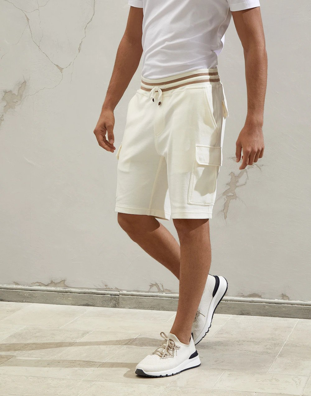 Brunello Cucinelli Techno cotton French terry Bermuda shorts with striped details